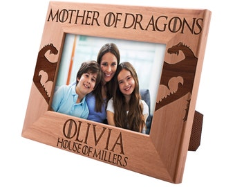 Mother of Dragons Personalized Picture Frame, Mom Gifts Engraved Frame Gifts for Mom, Mothers Day Gift, Mother Daughter #10