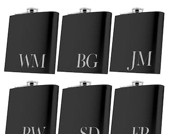 P Lab Set of 8 or Only 1 Groomsmen Gift - 6 oz. Personalized Flask Set - Groomsman Gifts Flask, Customized Flask Set | Wedding Flask Set - 1