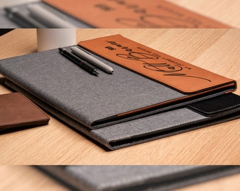 Personalized Leather Canvas Portfolio, Custom Journal Padfolio - Businessman, Businesswoman, Employee, Boss Gift, Christmas & Teacher Gifts