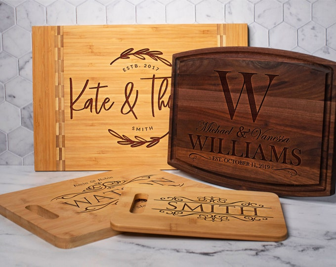 Featured listing image: Personalize Cutting Board - Wood Engraved Custom Cutting Board, Wedding Gift, Housewarming Gift, Anniversary, Engagement, Christmas Gifts