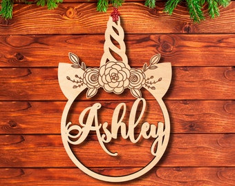 Christmas Wood Ornaments for Girls w/ Unicorn and Name Design, Customized Laser Cut 2020 Christmas Decoration Gift  - Xmas Christmas Tree