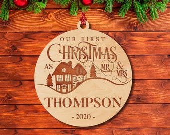 Our First Christmas as Mr & Mrs, Christmas Wood Ornaments for Newlyweds, Laser Engraved Xmas Tree Décor for Couple w/ Year and Last Name