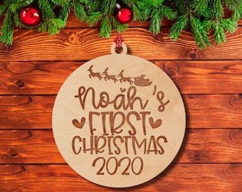 Baby's First Christmas Ornament w/ Name & Year, Xmas Wood Ornaments for Newborns, Laser Engraved Christmas Tree Décor | Baby Girl, Baby Boy