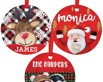Christmas Ornament with Name Personalized Gift, Xmas Tree Custom Ornaments, Décor Gifts Customized - Ceramic or Aluminum w 8 Designs Options