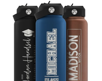 Custom Graduation Water Bottle for His or Her, Personalized Graduation Gift, College Graduate, 18oz, 32oz, 40oz, 9 Colors 6 Designs Options