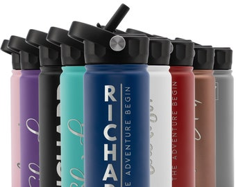 Personalized Water Bottle w/Straw Lid, 18 oz | Custom Stainless Steel Sports Water Bottle w/Name and Text - Christmas Gift - Rotating Handle