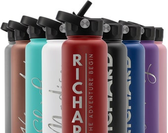 Personalized Water Bottle w/Straw Lid, 40 oz | Custom Stainless Steel Sports Water Bottle w/Name and Text - Christmas Gift - Rotating Handle