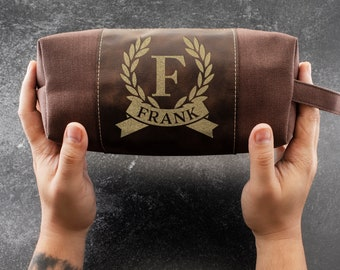 Personalized Dad Gift Waterproof Toiletry Bag Leather Dopp Kit for Him Wedding Gifts Groom Travel, Gift for Husband, Shaving Kit Christmas