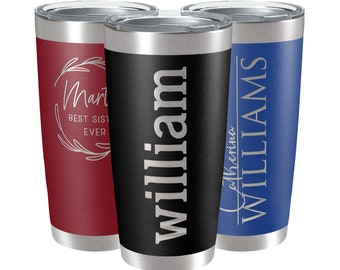 Custom Insulated Tumbler, Engraved Tumbler, Personalize Christmas Gifts, 20 oz, 30 oz, 11 Colors, Travel Mug, Stainless Steel Coffee Cup