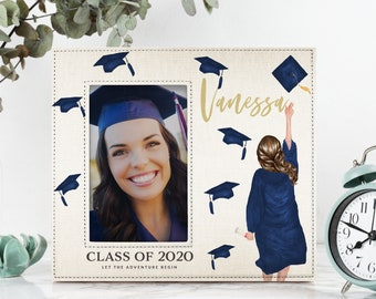 Custom Graduation Gift for Her, Personalized Graduation Gift, College Graduate, Select Hair Style, Skin & Hood Color Class of 2021 4x6 Frame