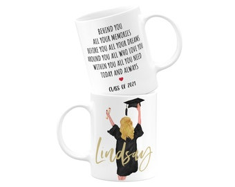 Custom Graduation Gift for Her, Personalized Graduation Gift, College Graduate, Select Hair Style, Skin & Hood Color, Class of 2021 15oz Mug
