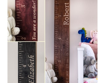 Personalize Wooden Kids Growth Height Chart Ruler for Boys and Girls, Kids Room Wall Décor for Baby, Measuring Stick, Nursery Décor Signs
