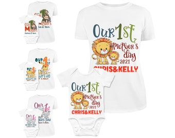 Personalized Set First Mother's Day Shirts Matching Mom and Baby Shirt & Bodysuit Set - Our First Mothers Day Matching Shirt Gift Set, Mom