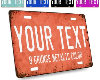 Custom License Plate for Cars & Bikes Tag - Your Text Here | 6 Fonts, 24 Patterns | 6x3 12x6 Personalized Aluminum Novelty License Plates