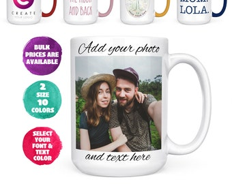 Customizable Mug - 11 oz, 15 oz, Color Changing Coffee Mug Personalized Gifts- ADD Photo, Logo, or Text to Tazas Personalizadas Christmas