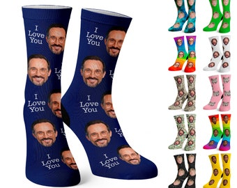 Custom Face Socks w Text, Personalize Photo Sock w Face for Men, Funny Pet Socks, Father's Day, Dad, Gift for Him w Picture