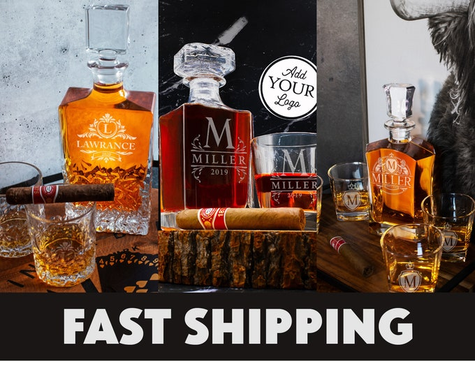 Featured listing image: Whiskey Decanter Set, Father's Day Personalize Gift for Dad, Wedding Gift, Gift For Him, Housewarming, Groomsman, Husband, Whiskey Scotch