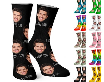 Custom Face Socks w Text, Personalize Photo Sock w Face for Men and Women, Funny Pet Socks, Birthday, Valentine's Day, Couple Gift w Picture