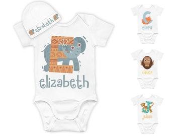 Personalized Baby Onesie Set, Custom Bodysuit & Beanie Initial Baby Gifts for Newborn Boys, Girls Onesie, Birthday Gifts for One Year Baby