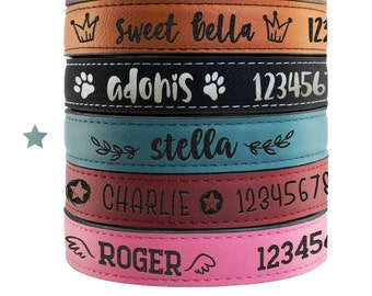 Personalized Leather Dog, Collar w/ Dog's Name, Phone Number & Cute Icons, Small, Medium, Large Sizes - 6 Colors Custom Dog Collar Christmas