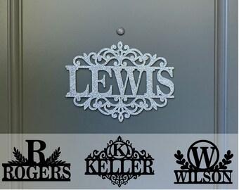 Custom Family Name Door Hanger, Initial Monogram Door Sign, Outdoor, Different Designs & Color Options, Housewarming Gift, Newlywed, Wedding