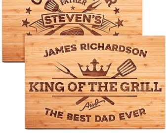 Father's Day Gift for Dad, Personalized Rectangular Cutting Board for Grill Master, King of The Grill Gift for Grandpa, Daddy, Best Dad Ever