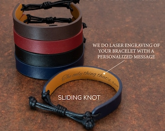 Personalized Leather Bracelet for Men - 12 Font Options - Husband Gifts from Wife, Christmas Gifts for Men, Boyfriend, Anniversary Gift