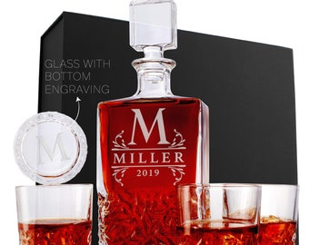 Personalized Whiskey Decanter Set w/ Glasses, Christmas Gifts For Him, Housewarming, Groomsman, Custom Wedding, Rectangular Whiskey Gift