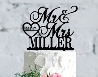 Personalized Wedding Cake Topper, Custom Cake Topper for Wedding, Acrylic & Wood Name Cake Topper, Mr Mrs Cake Topper, Date in the Heart D2