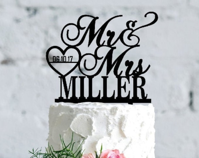 Featured listing image: Personalized Wedding Cake Topper, Custom Cake Topper for Wedding, Acrylic & Wood Name Cake Topper, Mr Mrs Cake Topper, Date in the Heart D2
