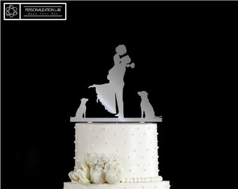Bride Groom Kissing with Two Dogs Elegant Wedding Cake Topper Couple Last Name Silhouette Acrylic Real Wood Decoration Customized