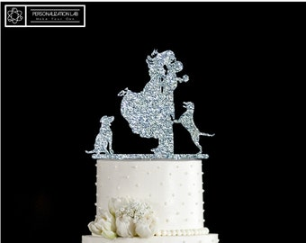 Bride Groom Couple and Two Big Dog Animal Silhouette Elegant Wedding Cake Topper Acrylic Real Wood Decoration Customized Wedding Ornoment