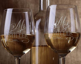 Set of 2, Personalized Large Round Bowl Wine Glass 20 oz., Bridesmaid Housewarming Gifts, Etched Engraved Drinkware Glassware Barware #2