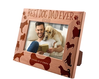 Personalized Picture Frame 4x6 Father's Day Gift , Best Dog Dad Ever Custom Engraved with Names & Year - Dog Father Gift #15