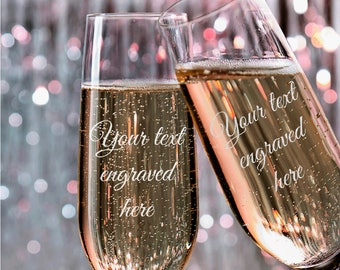 Set of 2, Your Text Here Wedding Toasting Flutes, Wedding Champagne Flutes, Custom Personalized Champagne Glass #N15