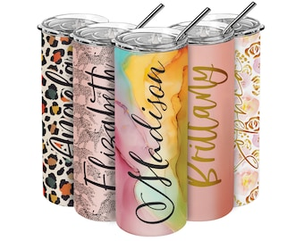 Personalized Skinny Tumbler w/ Straw & Cleaner Brush - 20 Oz w/ Custom Text, Best Friend Birthday, Summer Gifts for Her, Women, Bridesmaid