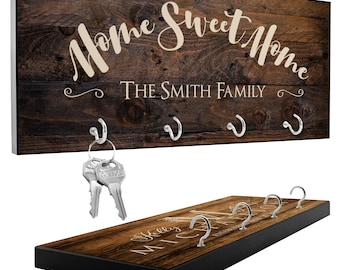Personalized Key Holder for Wall with 12 Design, 3 Rich Wood Options | Housewarming Gift, Custom Key Ring Holder, Wedding Gifts for Couple