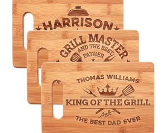 Christmas Gift for Dad, Personalized Bamboo Cutting Board for Grill Master, King of The Grill - Gift for Grandpa, Daddy, Best Dad Ever