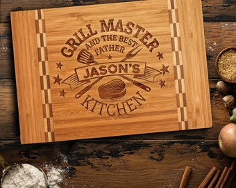 Father's Day Gift for Dad, Personalized Butcher Cutting Board for Grill Master, King of The Grill Gift for Grandpa, Daddy, Best Dad Ever