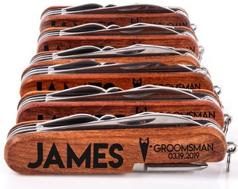 Personalized Groomsman Pocket Knife, 8-Function Multi-Tool Groomsmen Gifts, Engraved Knife, Personalized Knife, Multi-Tool Pocket Knife
