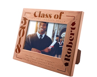 Personalized Engraved Graduation Picture Frame - Congrads, Let The Journey Begin - Class of 2019 - Gift For High College Graduate Gift #9