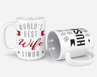 Custom Set of 2 Couple Mugs - 11 - 15oz, Gift for Couple, Christmas Gifts, Housewarming Gift Best Wife Husband Coffee Cup w Name Ceramic Mug