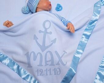 Baby Blanket, Personalized Soft Baby Receiving Blanket Boy & Girl - Baby Shower Gift - Newborn Nursery Gift - Super Soft 36x36 Satin Trim