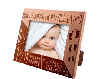 Personalized Picture Frame 4x6 5x7 8x10,Birth Announcement Frame, Engraved Picture Frame Baby Name, Birth Information, Best Baby Gift #8