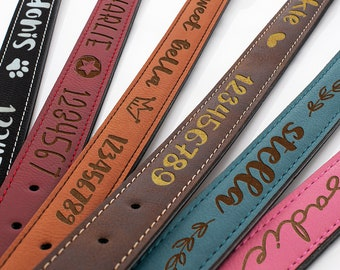 Personalized Leather Dog Collar w/ Dog's Name, Phone Number & Cute Icons, Small, Medium, Large Sizes - 6 Colors Custom Dog Collar Christmas