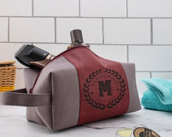Personalized Waterproof Toiletry Bag Leather Dopp Kit for Him Wedding Gifts Groom Travel, Gift for Husband, Shaving Kit Christmas Gift