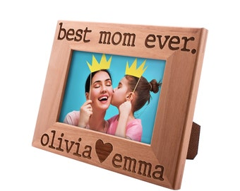 Best Mom Ever Personalized Picture Frame, Funny Mom Gifts Custom Engraved Frame Gifts for Mom, Mother's Day Gift, Mother & Daughter Son #11
