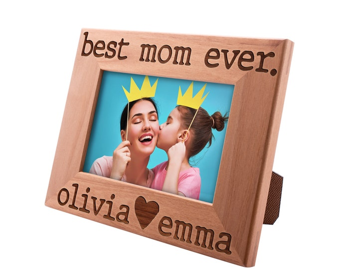 Featured listing image: Best Mom Ever Personalized Picture Frame, Funny Mom Gifts Custom Engraved Frame Gifts for Mom, Mother's Day Gift, Mother & Daughter Son #11