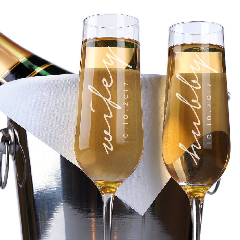 set of 2 wifey hubby wedding champagne flutes personalized