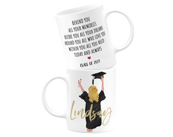 Custom Graduation Gift for Her, Personalized Graduation Gift, College Graduate, Select Hair Style, Skin & Hood Color, Class of 2021 11oz Mug